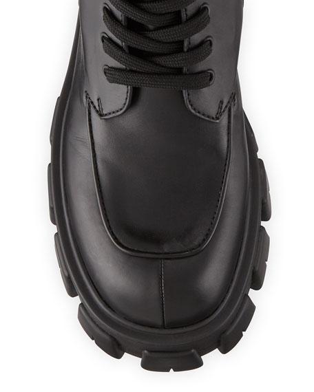 55mm Lace-Up Zip Pouch Platform Moto Boots