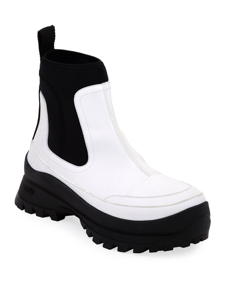 Image 1 of 1: Two-Tone Lug-Sole Ankle Boots