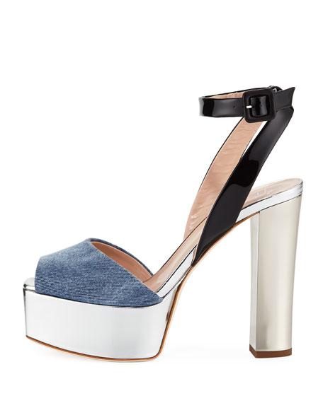 Denim Platform Ankle-Strap Sandals