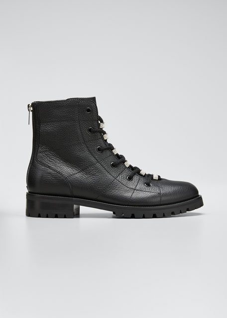 Bren Lace-Up Booties with Crystals
