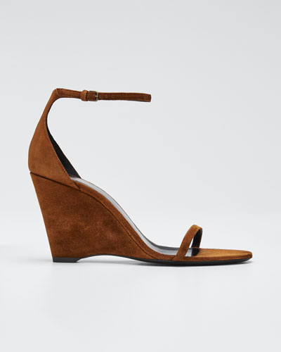 Lila 85mm Suede Wedge Sandals