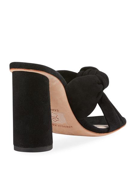 Coco Knotted Suede Block-Heel Slide Sandals