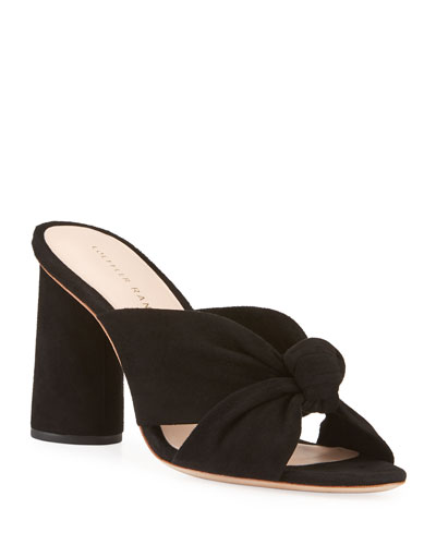 Coco Knotted Suede Block-Heel Slide Sandals
