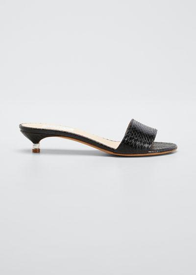 Garcia Snake Kitten-Heel Mule Sandals