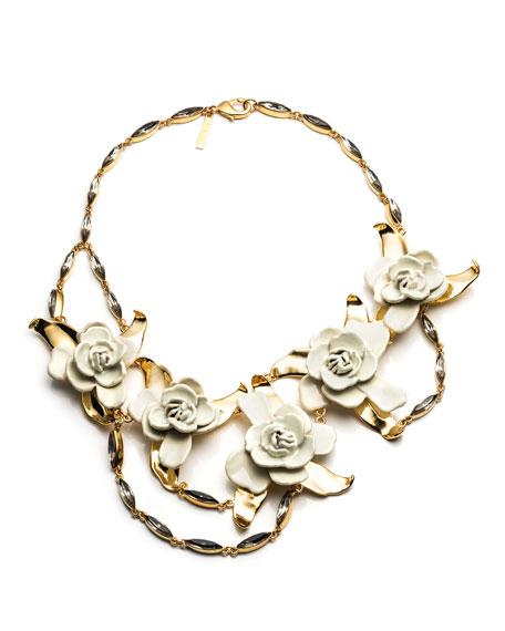Gardenia Flower Bib Necklace