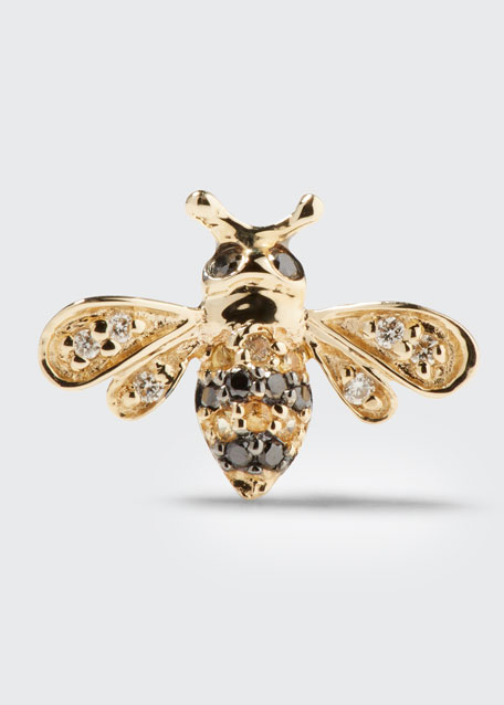 14k Gold Diamond & Sapphire Bee Stud Earring (Single)
