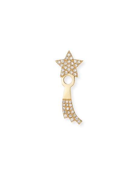 14k Gold Diamond Shooting Star Single Jacket Earring (Right)