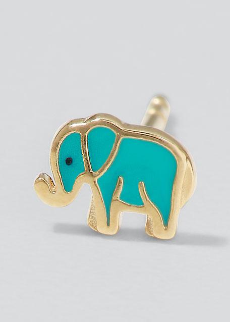 14k Mini Elephant Enamel Stud Earring, Right