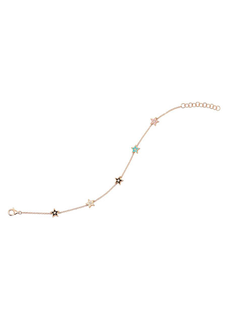 Image 1 of 1: 14k Rose Gold 5-Diamond & Enamel Star Bracelet