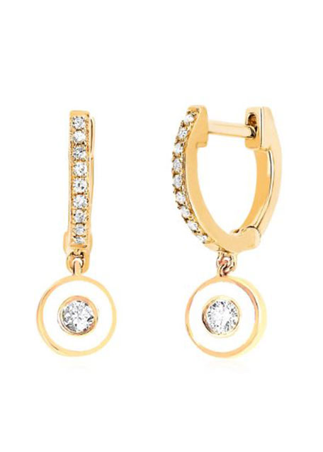 Image 1 of 1: 14k Diamond Huggie & Enamel Drop Earrings, White