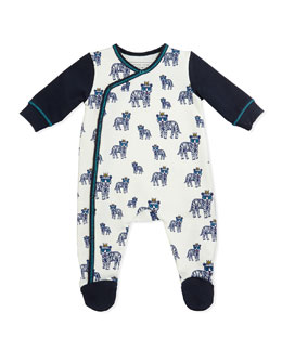 Little Marc Jacobs Allover Tiger Print Footie, White/Navy, Sizes 3-18 Months