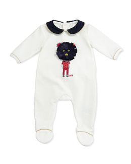 Little Marc Jacobs Mouse Embroidered Velour Footie, White, Sizes 3-18 Months