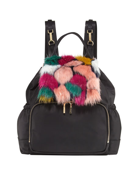 Faux-Fur Diaper Bag Backpack