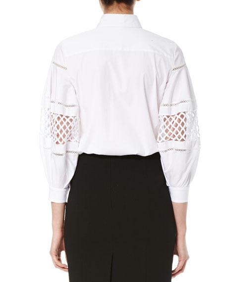 Crochet-Inset Balloon-Sleeve Blouse, White