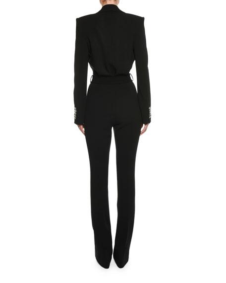 Long-Sleeve Plunging Tuxedo Straight-Leg Jumpsuit with Velvet Lapel