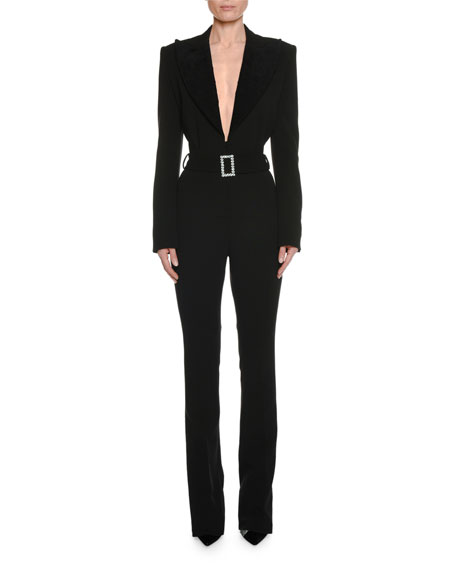 721fa55e8ef1 TOM FORD Long-Sleeve Plunging Tuxedo Straight-Leg Jumpsuit with Velvet Lapel