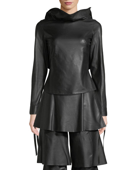 Image 1 of 1: Jodie Backless Tie-Sleeve Ruffled Leather Top