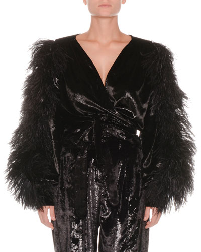 Velvet Cropped Wrap Top w/ Ostrich Feathers