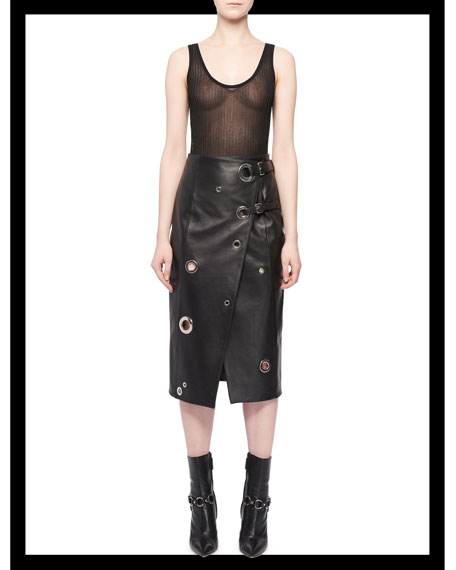 Grommet Wrap-Front Leather Skirt