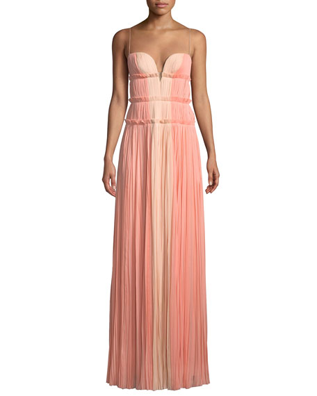 Image 1 of 1: Strappy Sweetheart Two-Tone Silk Gown