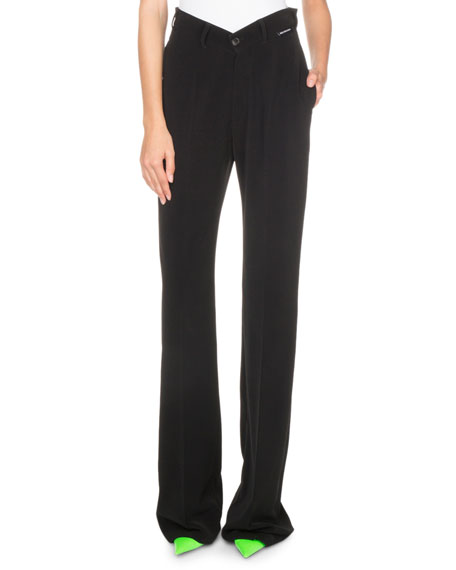 V-Waist Straight-Leg Pants