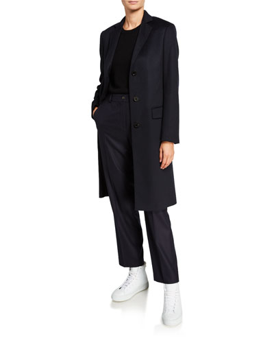 Cashmere Single-Breasted Slim Coat  Navy
