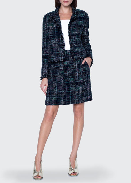 Image 1 of 1: Tweed Stand-Collar Jacket