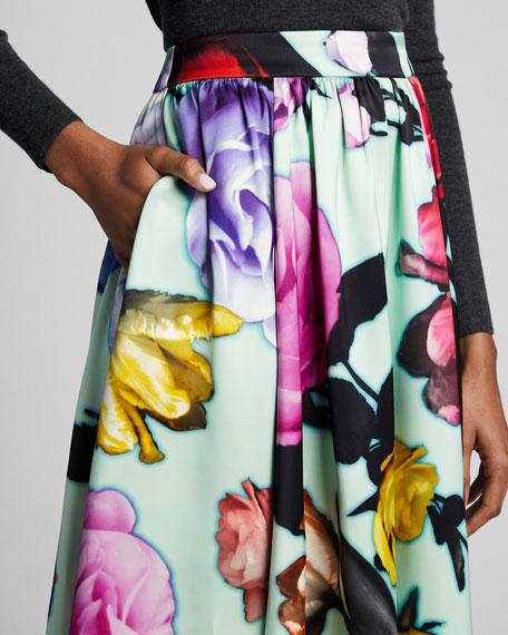 Floral Duchess-Satin Full Midi Skirt