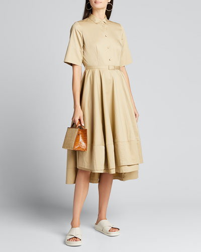 Poplin Flared Short-Sleeve Shirtdress