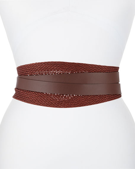 Image 1 of 1: Woven Linen Leather Wrap Belt