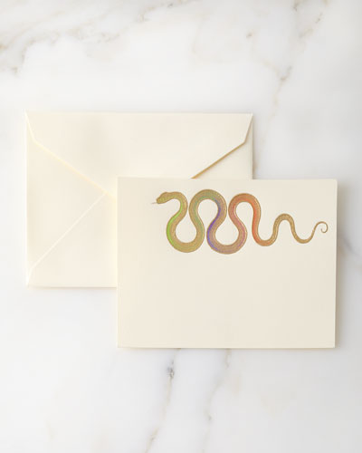 Hand-Painted Snake Note Cards with Envelopes  Set of 8