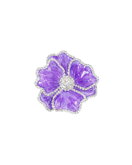 Floral Crystal Napkin Rings, Set of Four, Purple