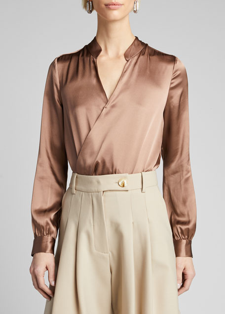 Marcella Surplice Long-Sleeve Silk Charmeuse Bodysuit