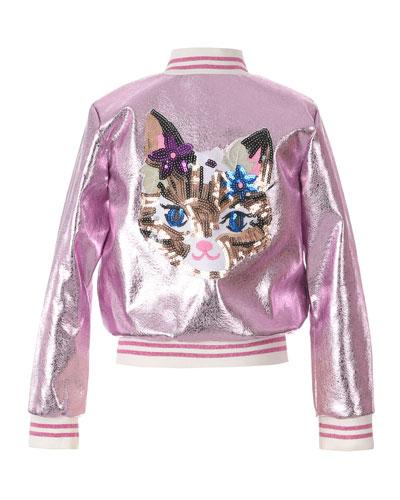 Girl's Metallic Bomber Jacket w/ Sequin Cat Face  Size 7-16