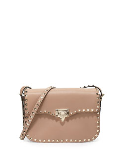 Rockstud Leather Flap-Top Shoulder Bag
