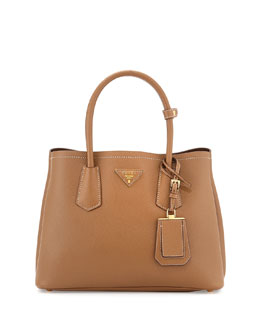 Saffiano Leather Small Double Bag