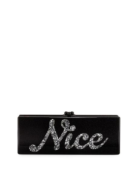 Naughty & Nice Flavia Clutch Bag, Obsidian Sand