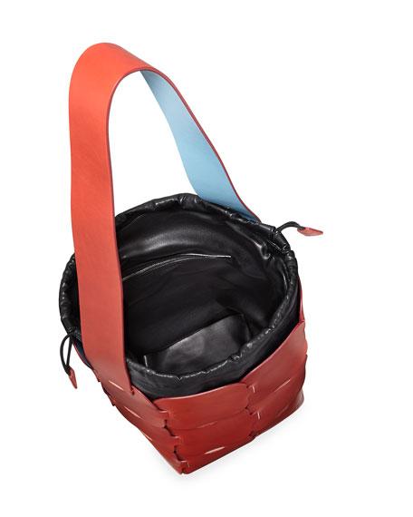 Brick-Pattern Leather Bucket Bag