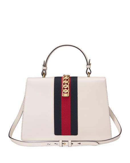 Sylvie Embroidered Leather Top-Handle Satchel Bag