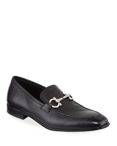 Textured Calfskin Gancini Loafer  Black