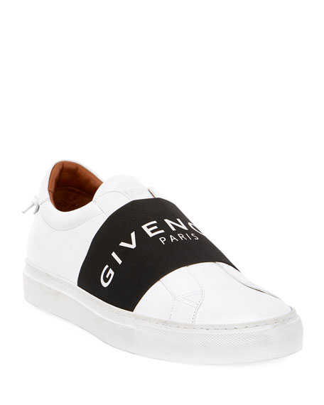 Men's Urban Street Elastic Slip-On Sneakers, White/Black