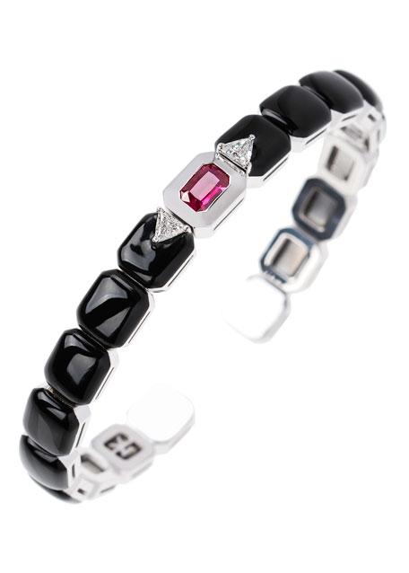 Oui 18k White Gold Split Diamond, Ruby & Black Enamel Bracelet