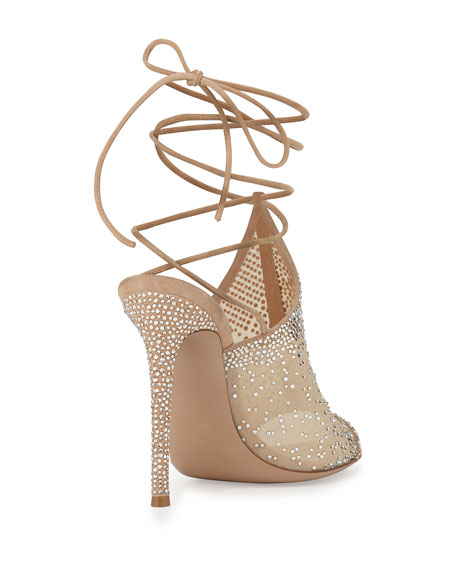 Crystal Mesh Ankle-Wrap Sandal