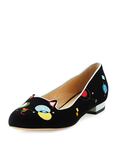 Abstract Kitty Velvet Flat