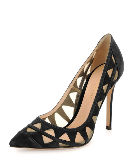 Pyramid Cutout Suede Pump
