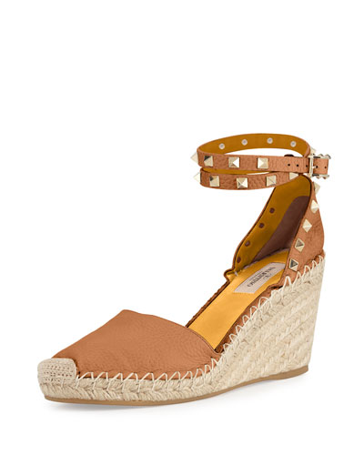 Rockstud Leather Espadrille Wedge