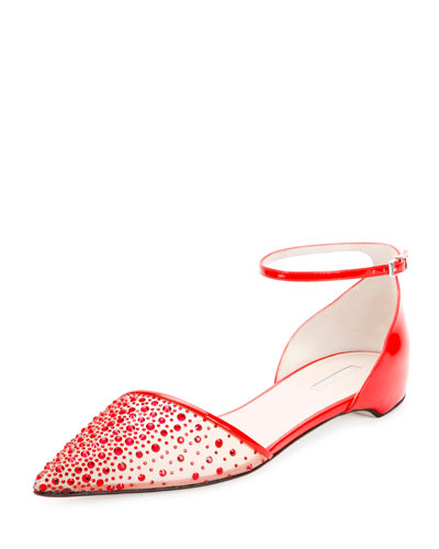 Beaded Mesh d'Orsay Flat, Red