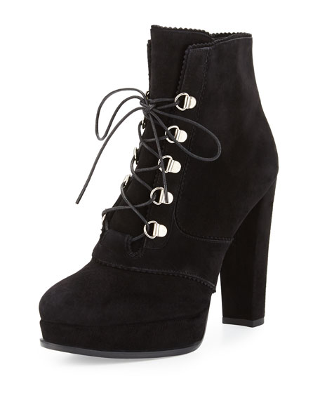 Saddle Suede Platform Hiker Boot, Black
