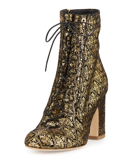 Laurence Dacade Milly Embossed Suede Boot, Black/Gold