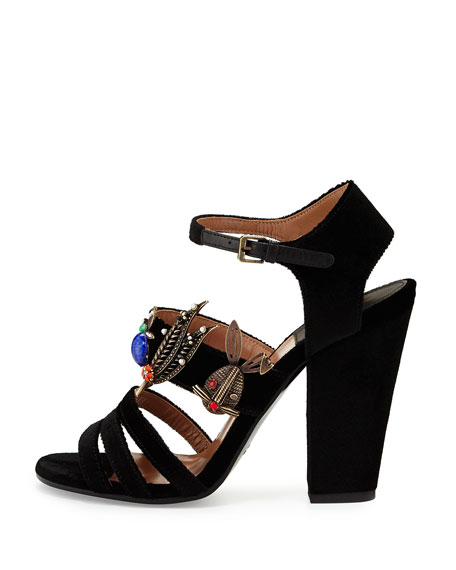 lowest price cheap price Laurence Dacade Embellished Velvet Sandals outlet factory outlet buy cheap top quality iDeQvom3